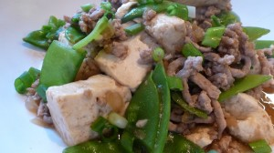 Tofu with Spicy Pork and Snow Peas