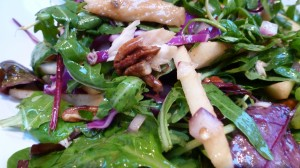 Spicy Greens and Red-cabbage Salad with Smoked Mackerel and Apples